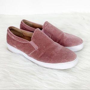 Vionic Midi Holiday Pink Velvet Slip On Sneakers